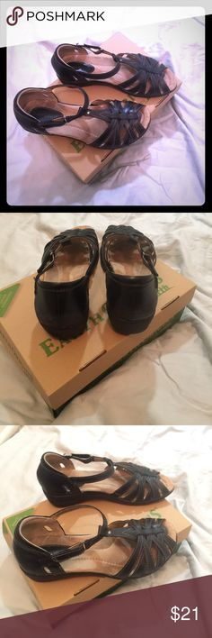 Earth Origins Posy Peep Toe Sandals Earth Origins Posy Peep Toe Sandals --- Black open toe sandals with adjustable strap at ankle. good condition from a nonsmoking home. Excellent comfortable brand. Earth Origins Shoes Sandals