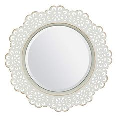 Stonebriar White Decorative Metal Lace Beveled Mirror for Wall with Attached Mounting Bracket, Gold Highlights Stoneb. Metal Mirror, Wall Mounted Mirror, Mirror Set, Beveled Mirror, Wall Mirrors Walmart, Wall Mirror Online, Mirrors Online, How To Clean Metal, Gold Highlights