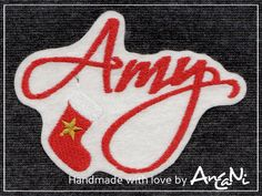 Aufnäher Name m. Weihnachtsstrumpf ♥ Weihnachten von AnCaNi auf DaWanda.com