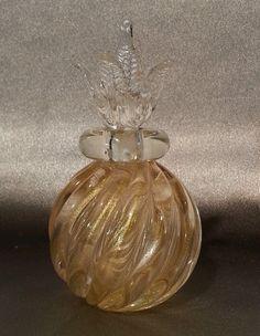 Vintage 1950 Signed Archimede Seguso Murano Art Glass Aventurine Perfume Bottle | eBay