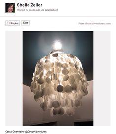 Homemade capiz chandelier