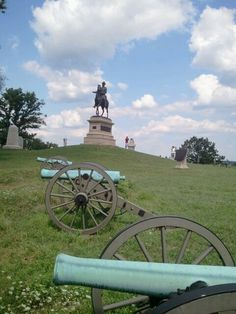 Civil War cannons and equestrian statue of Union general Winfield Hancock.  Gettysburg, PA. 8/13/12