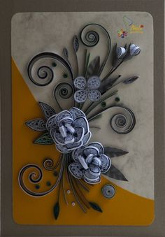 neli: Quilling card - flowers 2012/10