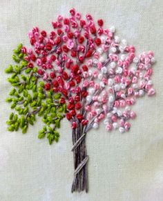 Stitching Idyllic: Spring Flowers by Ann Bernard - a tree with a lot of french knots