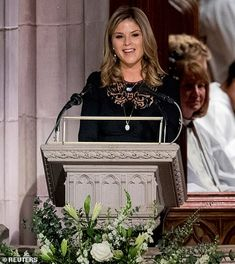 Jenna Bush Hager gives a reading at her grandfather George H.W. Bush's funeral. She placed a loving hand on her grandfather's casket as she made her way to the pulpit