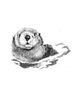 Otter Art  Little Swimmer  Otter Drawing by corelladesign on Etsy, $20.00