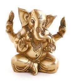 Ganesha vierarmig aus Messing - 14,5 cm Shiva, Yoga Shop, Lord Ganesha, Lion Sculpture, Products, Indian Gods, Statues, Kunst, Figurines