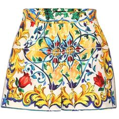 Dolce & Gabbana Printed Cotton Shorts ($985) ❤ liked on Polyvore featuring shorts, multicoloured, cotton shorts, multi colored shorts and colorful shorts