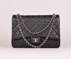Maxi Classic Double Flap Bag Original Lambskin Leather Black (Silvery Hardware) #58601