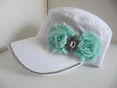 Reserved Barb, White Hat, Wedding Hat, Cadet Hat, Military Hat, Brides Hat, Bridal Hats, Sworovski Crystal Hat, Bling Hat, Wedding Hat on Etsy, $23.00