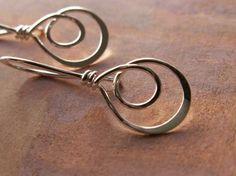 Double Hoop Earrings Sterling Silver by AUNALIArtisanMetal on Etsy