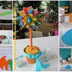 Beach Wedding Bridal Shower...cute and easy centerpeice for the shower? @brittany w. do you like?