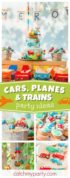 Check out this awesome Planes, Trains and Automobiles 1st Birthday party! The birthday cake is stunning!