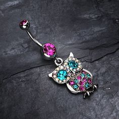 Sparkling Owl Dangle Belly Button Navel Ring NEW Fashion Steel Body Jewelry - Piercings Ohrknorpel Piercing, Bellybutton Piercings, Cool Piercings, Cartilage Earrings, Cute Belly Rings, Dangle Belly Rings, Belly Button Jewelry, Belly Button Rings, Cute Jewelry