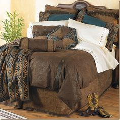 Save - on all Western Bedding and Comforter Sets at Lone Star Western Decor. Your source for discount pricing on cowboy bed sets and rustic comforters. Rustic Bedding Sets, Western Bedding Sets, Queen Bedding Sets, Comforter Sets, Western Bedrooms, Country Bedding, Brown Comforter, Rustic Bedrooms, Tiki Bars