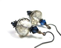 Platinum and Indigo Blue Vintage Style Dangle Earrings, Swarovski Earrings, Czech Glass Rondelles, For Her, Sparkling Jewelry, Accessories