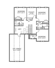 2nd Floor image of Featured House Plan: PBH - 9637