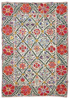 Suzani embroidery, Uzbekistan, ca. 1880