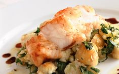 Rick Stein's roasted monkfish with crushed potatoes, olive oil and watercress recipe - Telegraph Fish Dishes, Seafood Dishes, Fish And Seafood, Seafood Recipes, Beef Recipes, Cooking Recipes, Healthy Recipes, Cooking Fish, Cooking Turkey