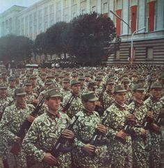 Soldiers of the Albanian People`s Army on parade. Military Weapons, Military Art, Military History, Army & Navy, Red Army, Albanian People, Army Uniform, Military Uniforms, People's Liberation Army