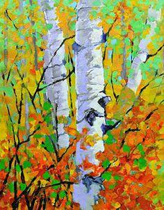 "Contemporary Artists of Colorado: Colorado Colorful Aspen Tree Landscape Oil Painting ""Autumn Blaze""by Colorado Artist Susan Fowler"