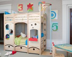 Fire pole bunk beds! Rhapsody Bed 6 Indoor Playset, Playbed, Playhouse | CedarWorks