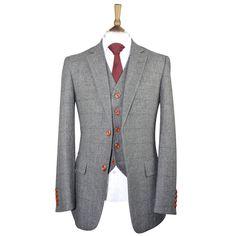 British Classic Grey Herringbone Tweed Suit