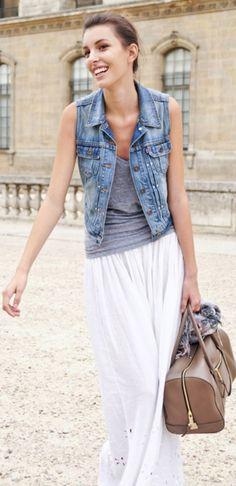 LOVE for #Summer - White Skirt+Denim Vest