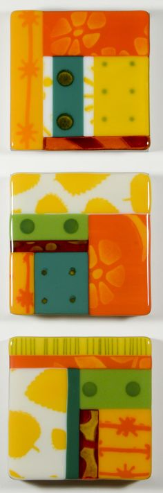 Sunny Side Up by Mary Johannessen. The three art glass tiles in this triptych are created from multiple, individually stenciled segments, primarily in crisp white, yellow, and orange. Inspired by sunny summer days, this arrangement is sure to brighten that special spot on your wall. Mounted on hardwood panels and ready to hang vertically or horizontally.