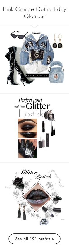 """""""Punk Grunge Gothic Edgy Glamour"""" by yours-styling-best-friend ❤ liked on Polyvore featuring black, grunge, edgy, gothic, WithChic, BLK DNM, Nasir Mazhar, Fallon, beauty and MAKE UP STORE"""
