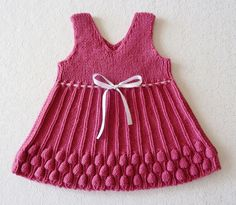 Hand Knitted Baby Dress  RASPBERRY by TatianaKnit on Etsy, $35.00