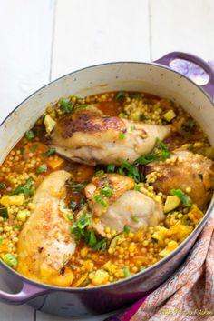 Chicken Couscous, Garlic Chicken, Garlic Recipes, Chicken Recipes, Chicken Ideas, Turkey Recipes, Pasta Recipes, Pearl Couscous Recipes, Cooking With White Wine