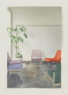 Paul Winstanley | Interior with a Tall Plant, watercolour ion fabriano paper, 2010.