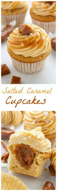 Supremely moist brown sugar cupcakes are stuffed with caramel cream and topped with salted caramel frosting. The best salted caramel cupcakes ever! (Cool Desserts For Parties) No Bake Desserts, Just Desserts, Delicious Desserts, Dessert Recipes, Baking Desserts, Baking Cups, Recipes Dinner, Yummy Food, Food Cakes