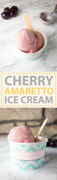 Tart, sweet and every so slightly boozy, this cherry amaretto ice cream makes an indulgent summer treat or grown up dessert!