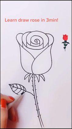 Cute Easy Drawings, Art Drawings For Kids, Art Drawings Sketches Simple, Pencil Art Drawings, Doodle Drawings, Flower Drawing Tutorials, Diy Canvas Art, Hand Art, Drawing Techniques