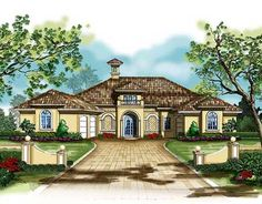 Mediterranean Courtyard House Plan - 33501EB | Florida, Mediterranean, Exclusive, Luxury, 1st Floor Master Suite, Butler Walk-in Pantry, CAD Available, Courtyard, Den-Office-Library-Study, In-Law Suite, MBR Sitting Area, PDF, Split Bedrooms | Architectural Designs