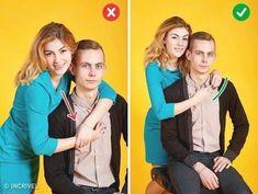 Salah : Saat pose duduk, hindari untuk melingkarkan tangan dengan pasangan. Karena hasilnya akan terihat kaku. Benar : Saat duduk, wanita hanya cukup menempelkan tangan pada bagian antara pundak dan dada pria.