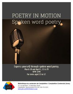 Poetry in Motion flyer made with LibraryAware. Teen Programs, Library Programs, Spoken Word Poetry, Library Ideas, Halloween Art, Promotion, Words, Centenarian, Bookshelf Ideas