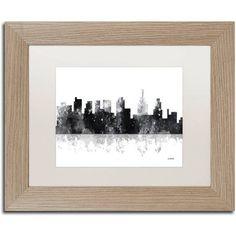 Trademark Fine Art Philadelphia Skyline BG-1 inch Canvas Art by Marlene Watson, White Matte, Birch Frame, Size: 11 x 14, Brown