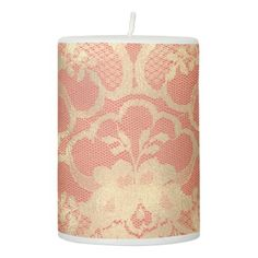 Lace Faux Gold Sepia Floral Amethyst Coral Luxury Pillar Candle - luxury gifts unique special diy cyo