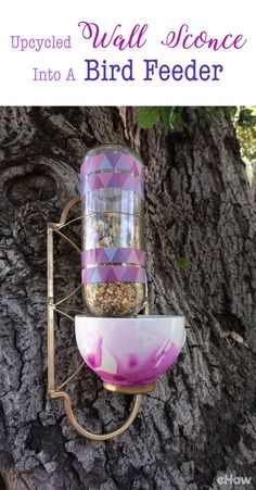 Turn an old wall sconce into a beautiful outdoor bird feeder!