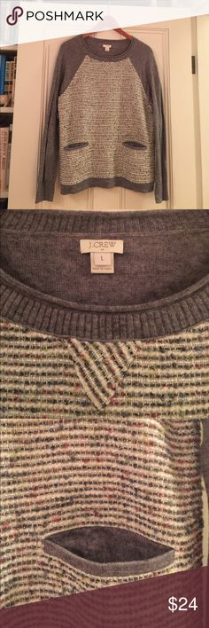 Jcrew tweed sweater Jcrew tweed and gray sweater! Excellent condition- only worn once. Tweed goes around front and has whites, grays, blues, and reds. So soft and pretty! J. Crew Sweaters Crew & Scoop Necks