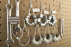 Nuts and Washers Stored on Pegboard: Keep them #organized with shower curtain rings. #organization #tip