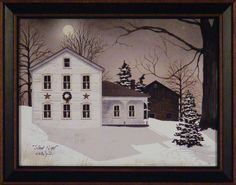 """SILENT NIGHT"" by Billy Jacobs FRAMED ART PRINT 15x19 ~ Farm House Moonlight"