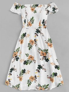 Pleated back floral print dressfor women-romwe cute outfits, hair accessori Cute Summer Outfits, Cute Casual Outfits, Pretty Outfits, Pretty Dresses, Spring Outfits, Beautiful Dresses, Casual Dresses, Short Dresses, Summer Dresses