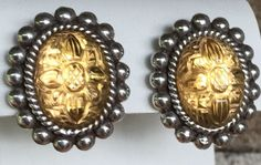Stephen Dweck Sterling Silver Carved Yellow Stone Clip-On Earrings #Huggie
