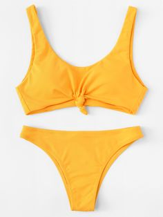SheIn offers Knot Front Bikini Set & more to . SheIn offers Knot Front Bikini Set & more to fit your fashionable needs. Source by - Yellow Bathing Suit, Summer Bathing Suits, Cute Bathing Suits, Yellow Bikini Set, Cute Bikinis, Cute Swimsuits, Summer Bikinis, Modest Swimsuits, Bikini Sets