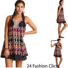 Umgee Women's Sleeveless Print Dress V Neckline Tunic Boho Chic-Paisley-Peasant- #UmgeeUSA #Tunic #Casual