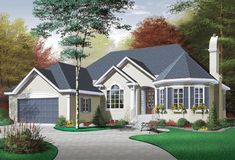Charming 2 bedroom Victorian style home.  Victorian House Plan # 181387.